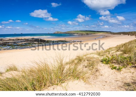 The beautiful golden sandy beach at Constantine Bay with Trevose Head in the distance Cornwall England UK Europe