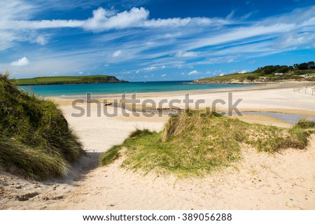 The beautiful golden sandy beach at Daymer Bay located on the River Camel Estuary near Rock and Padstow Cornwall England UK