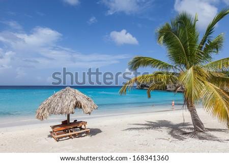 The beautiful Grande Knip Beach on the island of Curacao Caribbean - stock photo