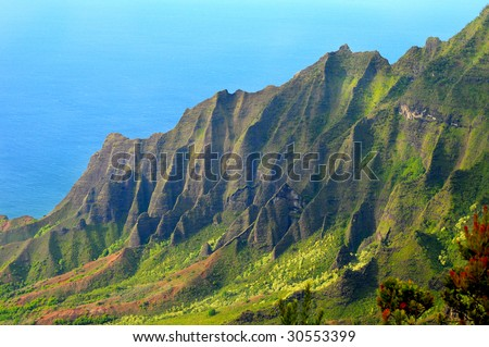 The beautiful Kalalau Valley on the Na Pali Coast of Kauai, Hawaii