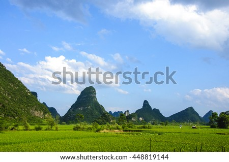 The beautiful karst mountains and rural scenery