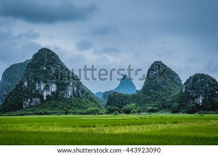The beautiful karst mountains and rural scenery after raining, Guilin, China