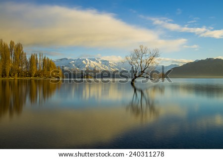 The beautiful Lake Wanaka on New Zealand's South Island - stock photo