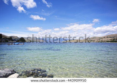 The beautiful lakes cape of Washington State's Lake Chelan. - stock photo