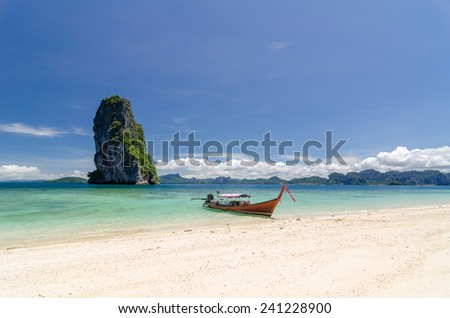 The beautiful landscape of Koh Poda (Poda Island) in Krbi province of Thailand. This island has white sand beach and surrounded by crystal clear water.
