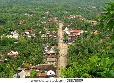 the beautiful landscape of luang prabang from mount phou si,laos.The whole city is also notable as a UNESCO World Heritage Site. - stock photo