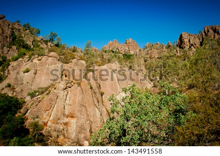 The beautiful landscape of Pinnacles National Park, California.