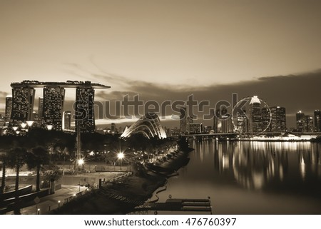The beautiful landscape of Singapore city skyline in daylight and at night