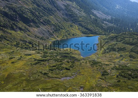 """the beautiful landscape of the lake """"heart"""" in the mountains of Siberia - stock photo"""