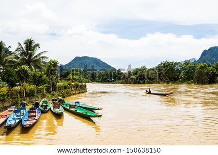 the beautiful landscape of vang vieng,laos - stock photo