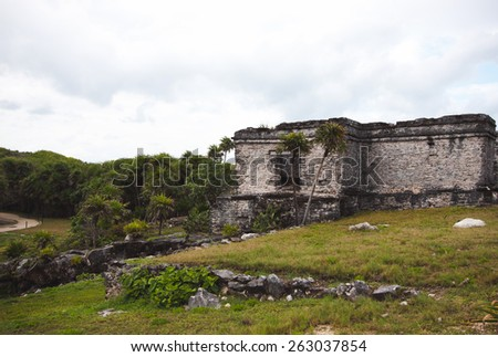 The beautiful Mayan ruins in Tulum, Mexico - stock photo