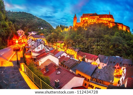 The beautiful medieval castle in Vianden, a small village in Luxembourg - stock photo