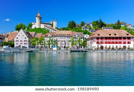 The beautiful medieval town of Schaffhausen and the Rhine river, Switzerland - stock photo