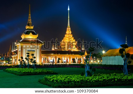 The beautiful meru in royal cremation ceremony at Sa Nam Luang, Bangkok, Thailand - stock photo