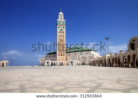 the beautiful  mosque Hassan second,  Casablanca, Morocco  - stock photo