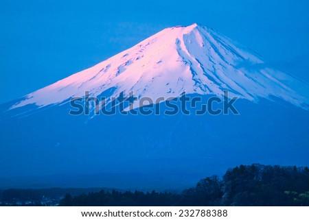 The beautiful mount Fuji in Japan at sunrise - stock photo