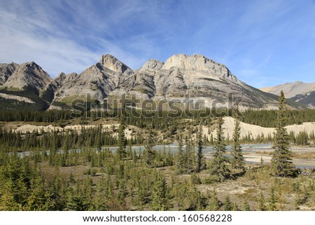 The beautiful mountains along the Saskatchewan River Off the Icefield Parkway  - stock photo