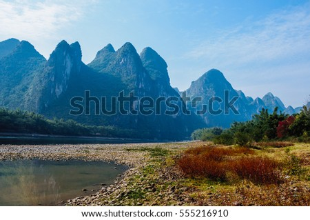 The beautiful mountains and river scenery
