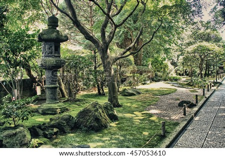 The beautiful nature of the Buddhist temple Hase-dera gardens in Kamakura, Japan.