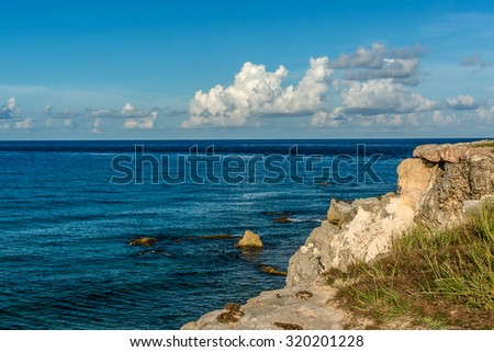 The beautiful nature of the island Isla Mujeres. Isla Mujeres, with its wonderful beaches, lies about 8 miles northeast of Cancun in the Caribbean Sea. Mexico. - stock photo