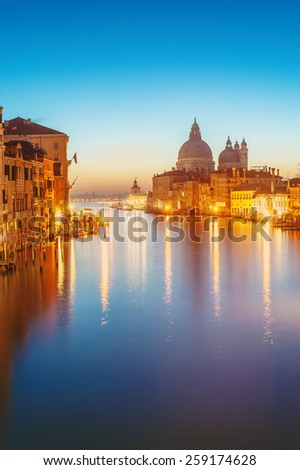 The beautiful night view of the famous Grand Canal in Venice, Italy - stock photo