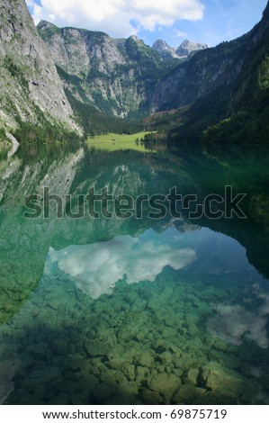 The beautiful Obersee, in the Berchtesgaden National Park, Bavaria, Germany.