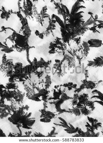 The beautiful of art fabric Batik Pattern in black and white
