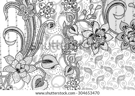 The beautiful of art Malaysian and Indonesian Batik Pattern in black and white