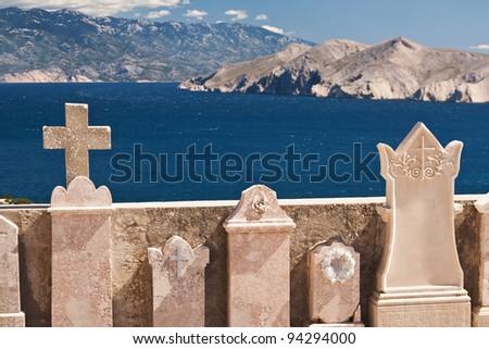the beautiful old cemetery near Baska on island Krk - Croatia - stock photo