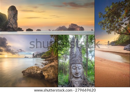 The beautiful panorama of Thailanda and islands. Asia - stock photo
