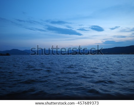 The beautiful panoramic view near the lake at dusk