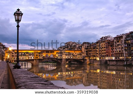The beautiful Ponte Vecchio in Florence, Italy  - stock photo