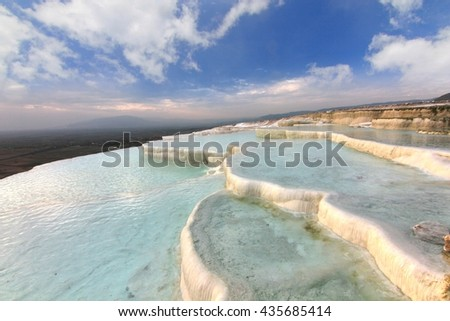The beautiful pools in Pamukkale ,Turkey
