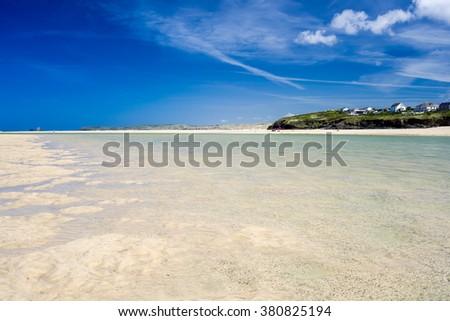 The beautiful Porthkidney Sands Beach near Lelant in St Ives Bay Cornwall England UK Europe - stock photo