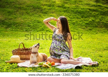 The beautiful pregnant woman on picnic with a dog - stock photo