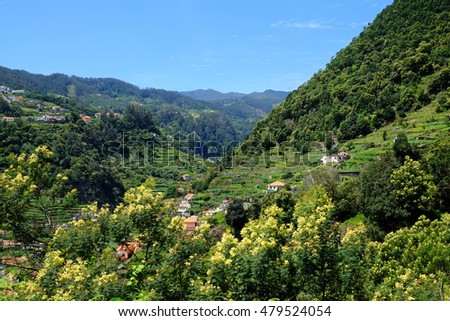 The beautiful Ribeira de Machico Valley, viewed  from the levada do Canico, Madeira.