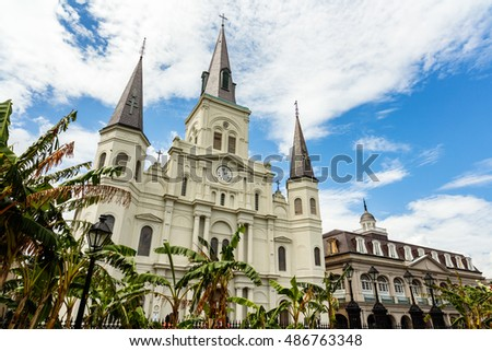 The beautiful Saint Louis Cathedral in the French Quarter in New Orleans, Louisiana.