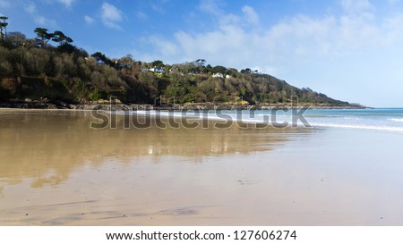 The beautiful sandy beach at Carbis Bay near St Ives Cornwall England UK - stock photo