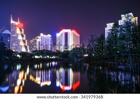The beautiful Shenzhen skyline at dusk of shenzhen city ?china - stock photo