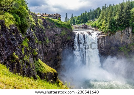 The Beautiful Snoqualmie Waterfall in the Great Pacific Northwest, USA.  Mid level wide angle view. - stock photo