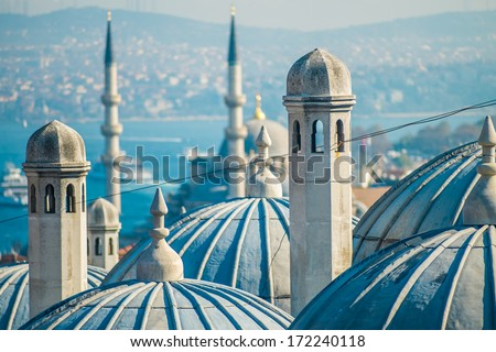 The beautiful Suleymaniye mosque in Istanbul, Turkey - stock photo
