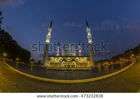 The beautiful Sultan Salahuddin Abdul Aziz Shah Mosque (also known as the Blue Mosque) located at Shah Alam, Selangor, Malaysia with fish eye view lens