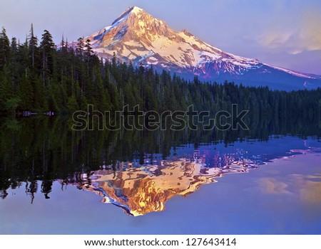 The Beautiful Sunset At Lost Lake Oregon - stock photo