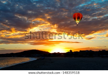 the beautiful sunset in Cabo San Lucas, Mexico - stock photo