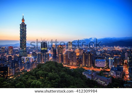 The beautiful sunset of Taipei, Taiwan city skyline