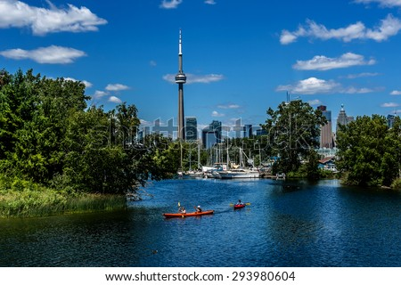 The beautiful Toronto Islands (Formerly Island of Hiawatha or Menecing). The islands are a popular recreational destination. Toronto, Ontario, Canada - stock photo