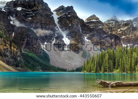 The beautiful turquoise colored Mourane Lake against the backdrop of the majestic mountains of the Canadian Rockies