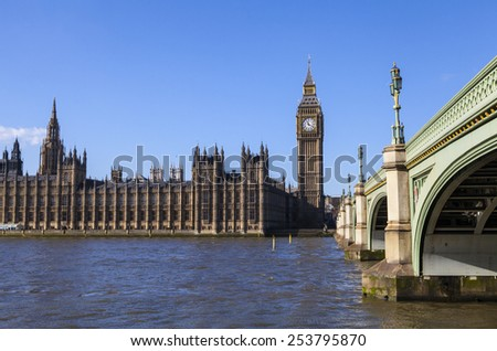 The beautiful view across the river Thames of the Houses of Parliament and Westminster Bridge in London.