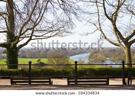 The beautiful view from Richmond Hill in Richmond Upon Thames, Greater London. - stock photo
