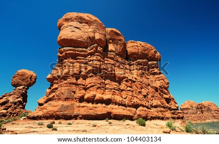 The beautiful view of balanced rock - stock photo